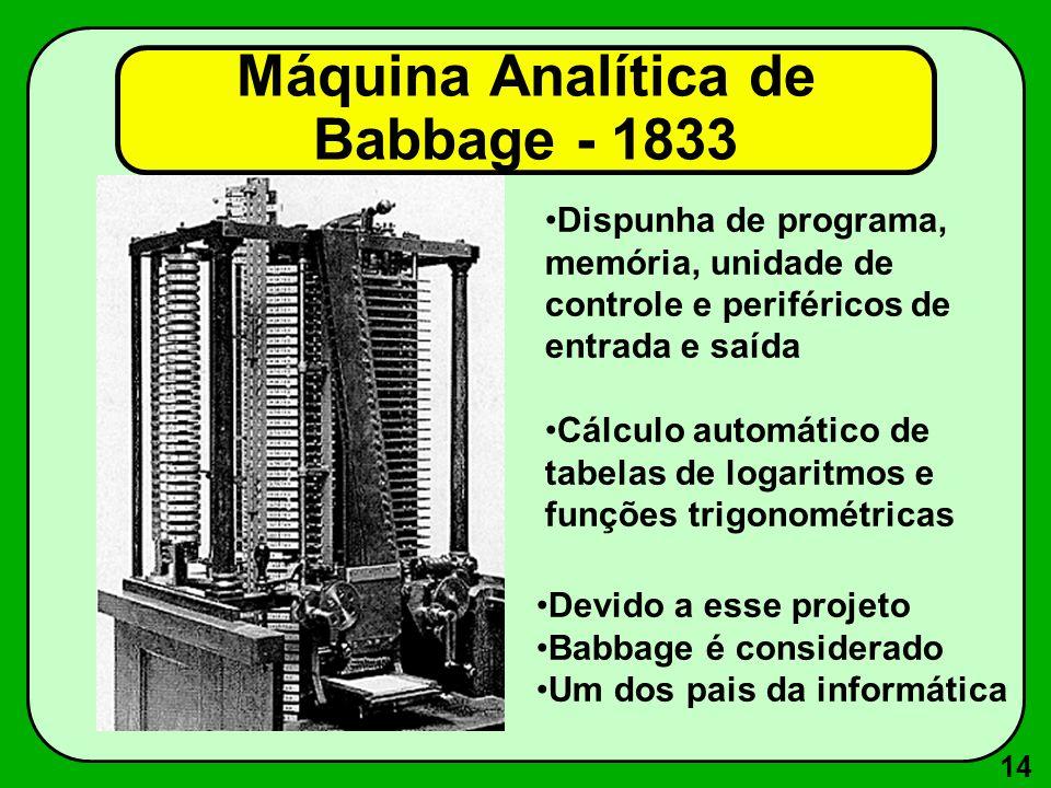 14 Dispunha de programa, memória, unidade de controle e periféricos de entrada e saída Cálculo automático de tabelas de logaritmos e funções trigonométricas Devido a esse projeto Babbage é considerado Um dos pais da informática Máquina Analítica de Babbage - 1833
