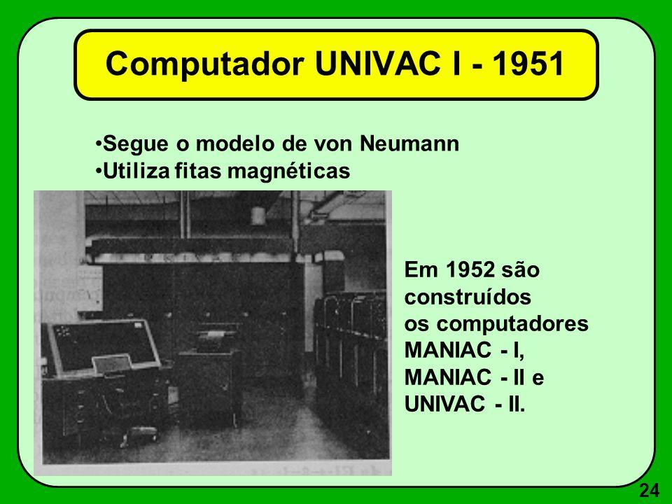 24 Segue o modelo de von Neumann Utiliza fitas magnéticas Em 1952 são construídos os computadores MANIAC - I, MANIAC - II e UNIVAC - II.