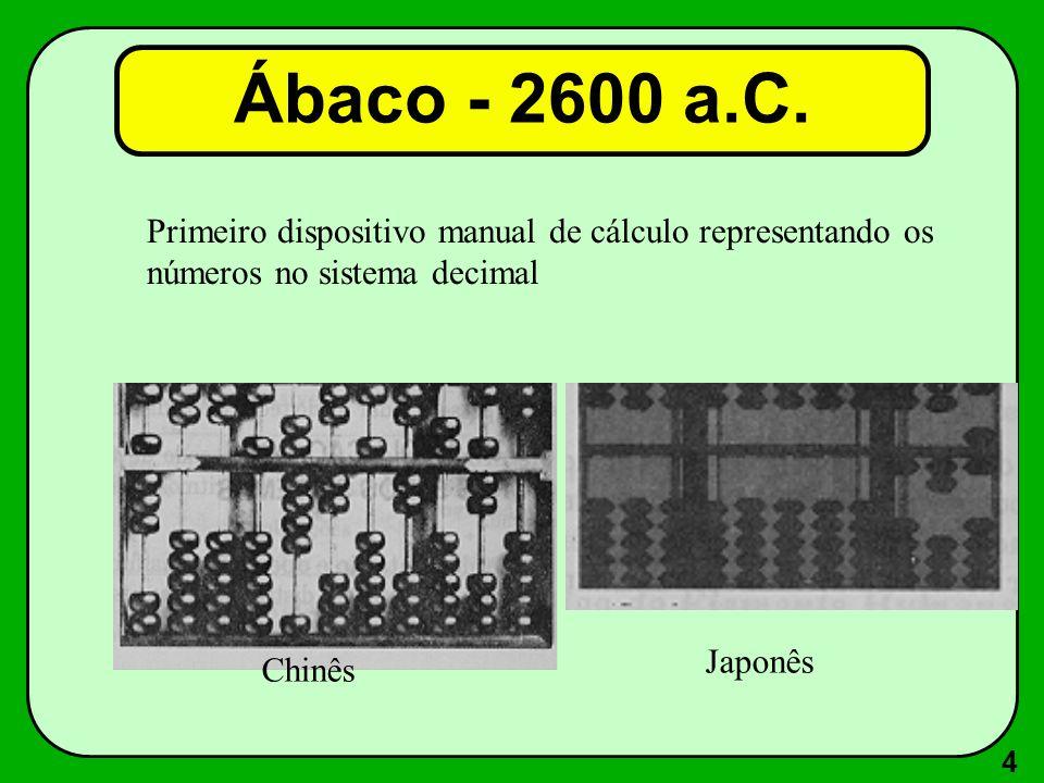 4 Primeiro dispositivo manual de cálculo representando os números no sistema decimal Chinês Japonês Ábaco - 2600 a.C.