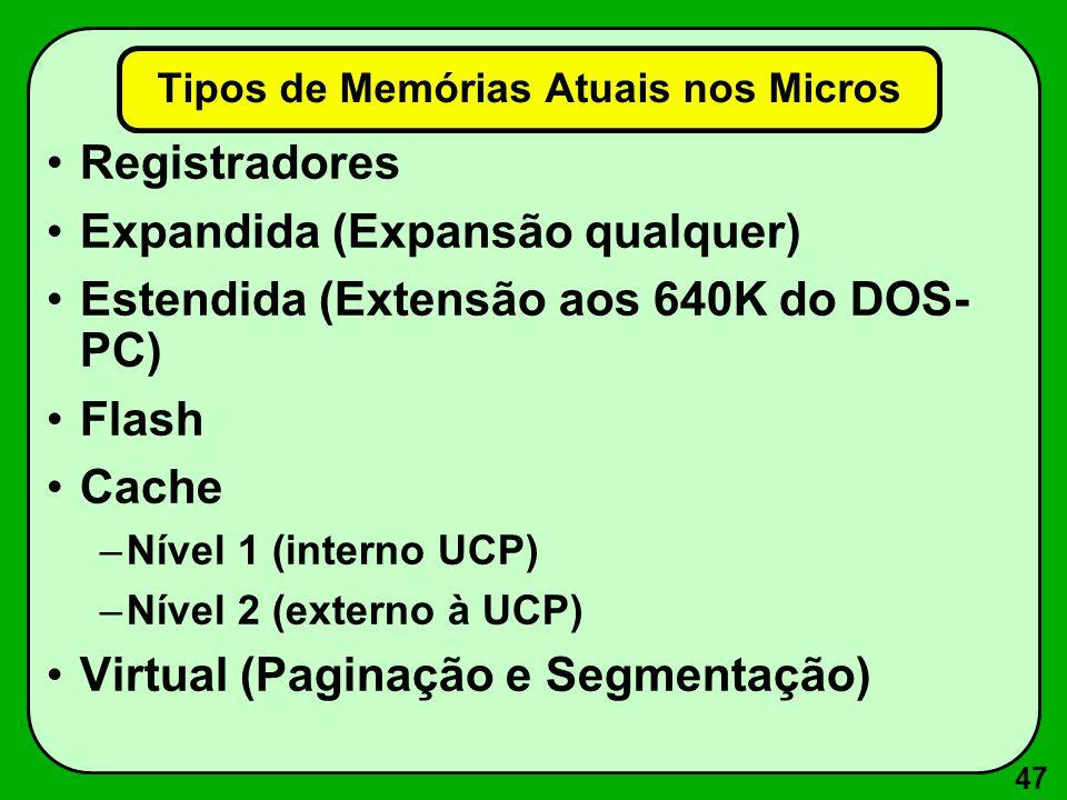 47 Tipos de Memórias Atuais nos Micros Registradores Expandida (Expansão qualquer) Estendida (Extensão aos 640K do DOS- PC) Flash Cache –Nível 1 (interno UCP) –Nível 2 (externo à UCP) Virtual (Paginação e Segmentação)