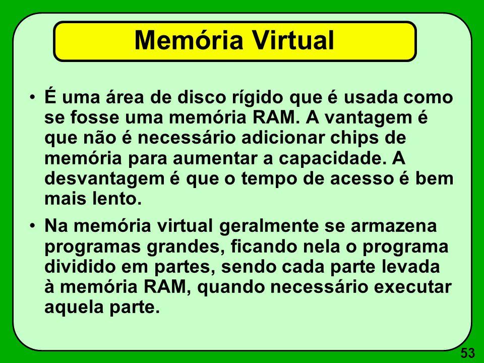 53 Memória Virtual É uma área de disco rígido que é usada como se fosse uma memória RAM.