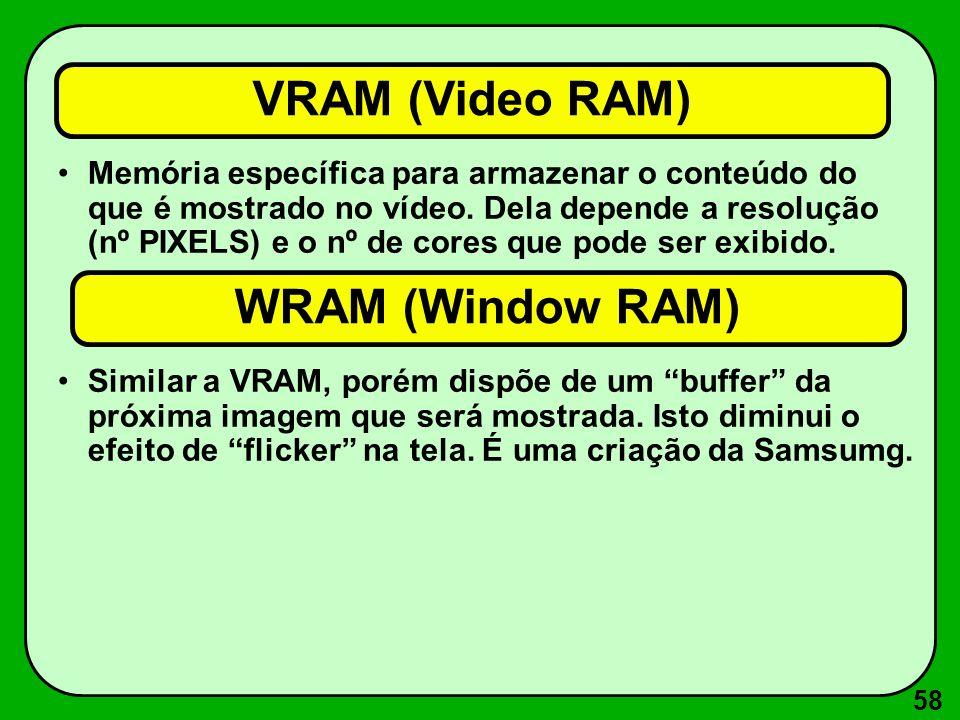 58 VRAM (Video RAM) Memória específica para armazenar o conteúdo do que é mostrado no vídeo.