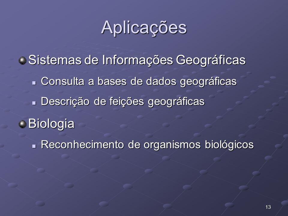 13 Aplicações Sistemas de Informações Geográficas Consulta a bases de dados geográficas Consulta a bases de dados geográficas Descrição de feições geo