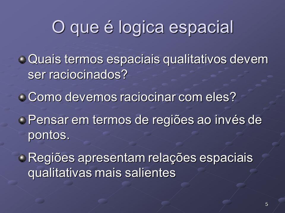 5 O que é logica espacial Quais termos espaciais qualitativos devem ser raciocinados? Como devemos raciocinar com eles? Pensar em termos de regiões ao