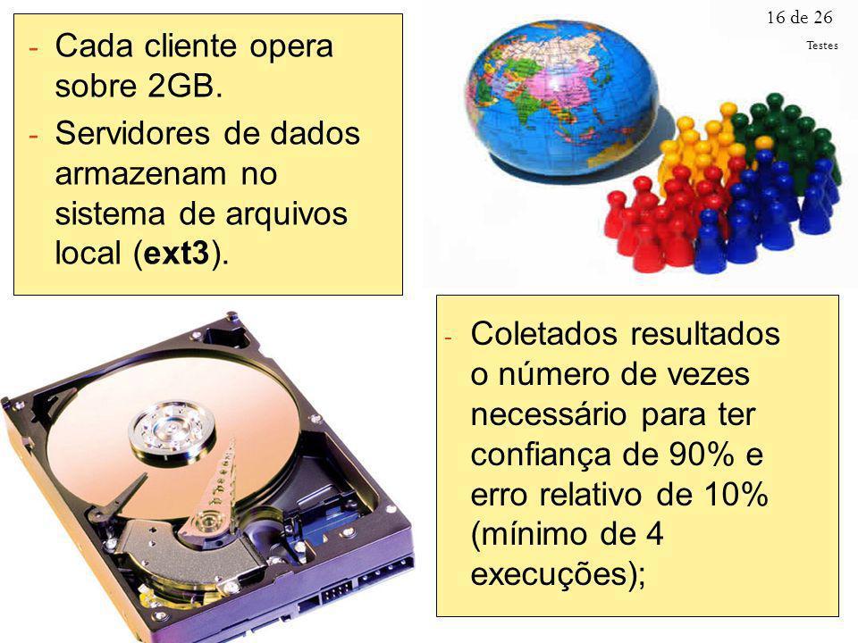 16 de 26 - Cada cliente opera sobre 2GB. - Servidores de dados armazenam no sistema de arquivos local (ext3). - Coletados resultados o número de vezes