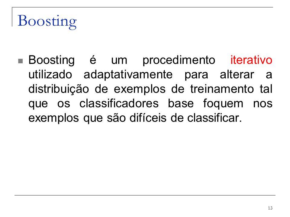 13 Boosting Boosting é um procedimento iterativo utilizado adaptativamente para alterar a distribuição de exemplos de treinamento tal que os classific