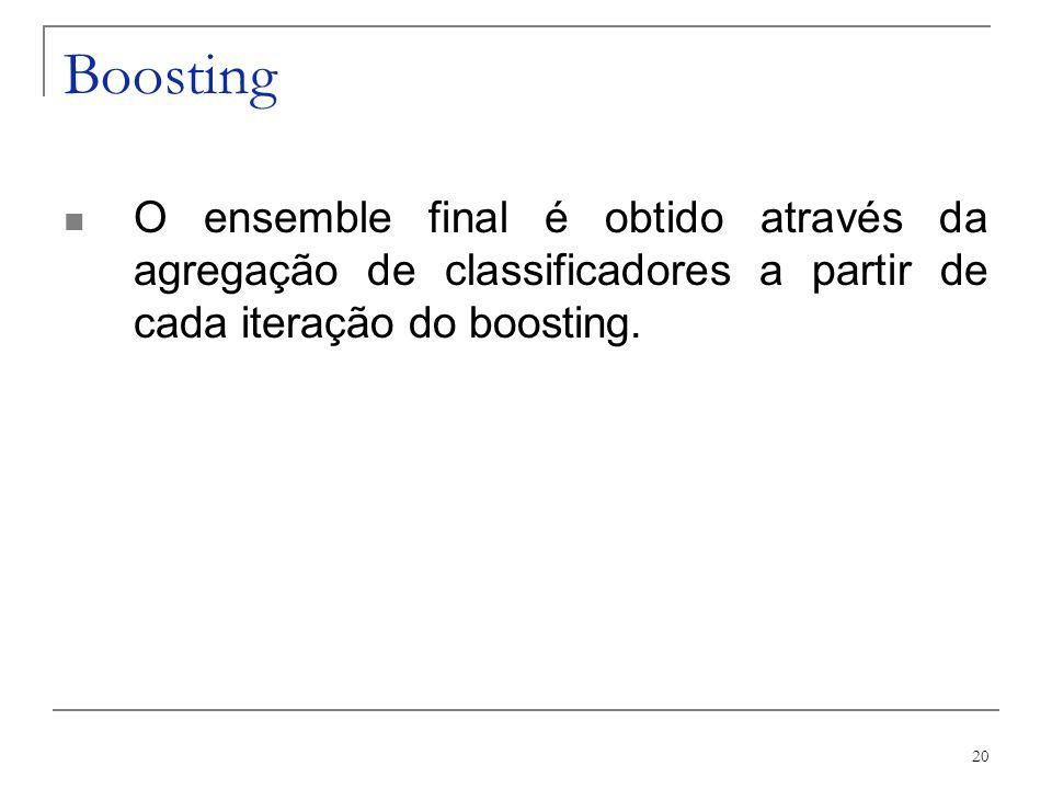 20 Boosting O ensemble final é obtido através da agregação de classificadores a partir de cada iteração do boosting.