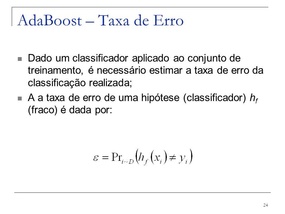 24 AdaBoost – Taxa de Erro Dado um classificador aplicado ao conjunto de treinamento, é necessário estimar a taxa de erro da classificação realizada;