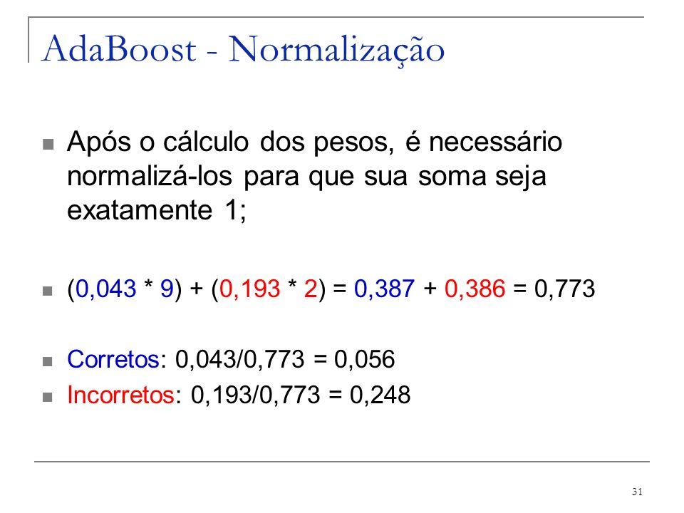 31 AdaBoost - Normalização Após o cálculo dos pesos, é necessário normalizá-los para que sua soma seja exatamente 1; (0,043 * 9) + (0,193 * 2) = 0,387