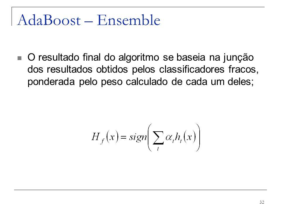 32 AdaBoost – Ensemble O resultado final do algoritmo se baseia na junção dos resultados obtidos pelos classificadores fracos, ponderada pelo peso cal