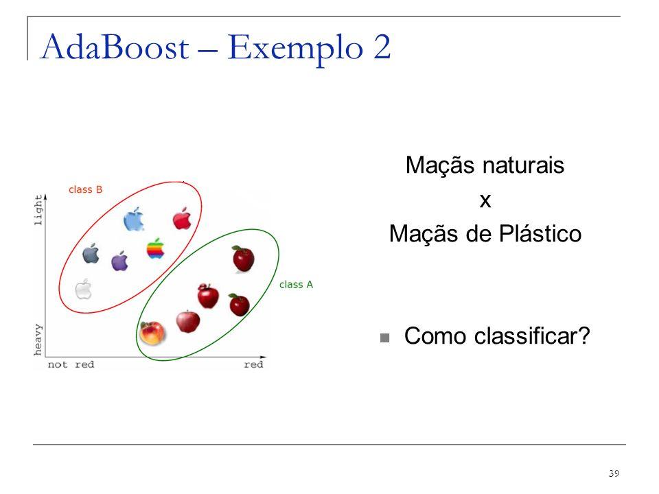 39 AdaBoost – Exemplo 2 Maçãs naturais x Maçãs de Plástico Como classificar?