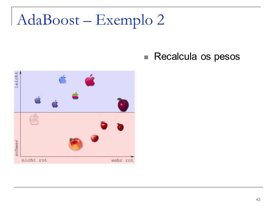 43 AdaBoost – Exemplo 2 Recalcula os pesos