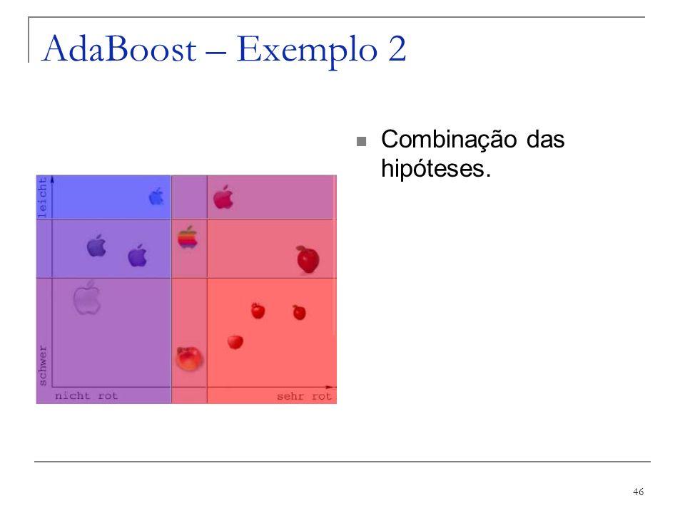 46 AdaBoost – Exemplo 2 Combinação das hipóteses.