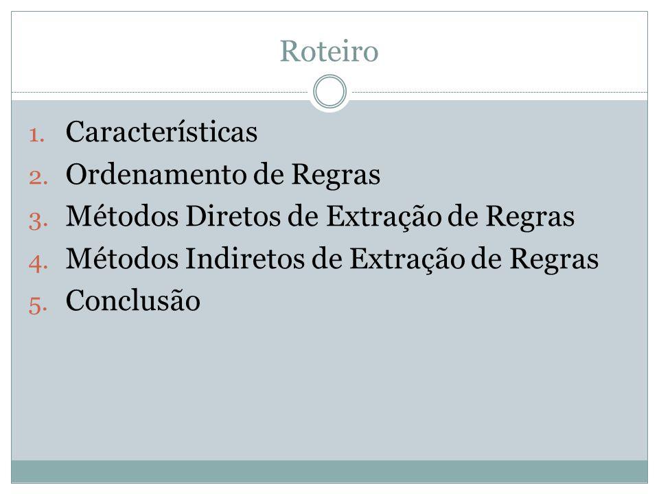 Roteiro 1. Características 2. Ordenamento de Regras 3. Métodos Diretos de Extração de Regras 4. Métodos Indiretos de Extração de Regras 5. Conclusão