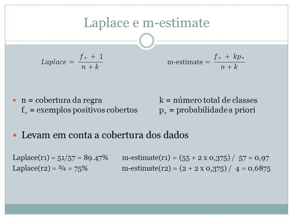 Laplace e m-estimate n = cobertura da regra k = número total de classes f + = exemplos positivos cobertos p + = probabilidade a priori Levam em conta