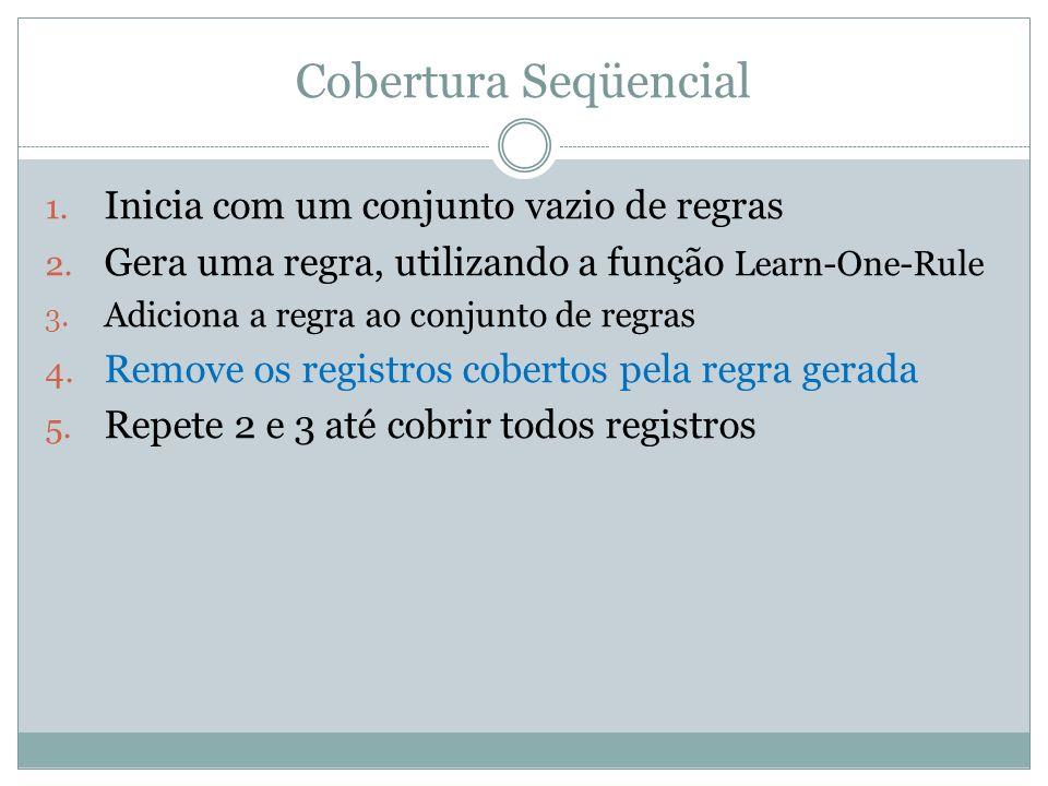 Cobertura Seqüencial 1. Inicia com um conjunto vazio de regras 2. Gera uma regra, utilizando a função Learn-One-Rule 3. Adiciona a regra ao conjunto d