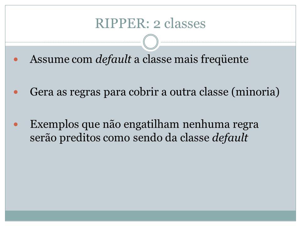 RIPPER: 2 classes Assume com default a classe mais freqüente Gera as regras para cobrir a outra classe (minoria) Exemplos que não engatilham nenhuma r