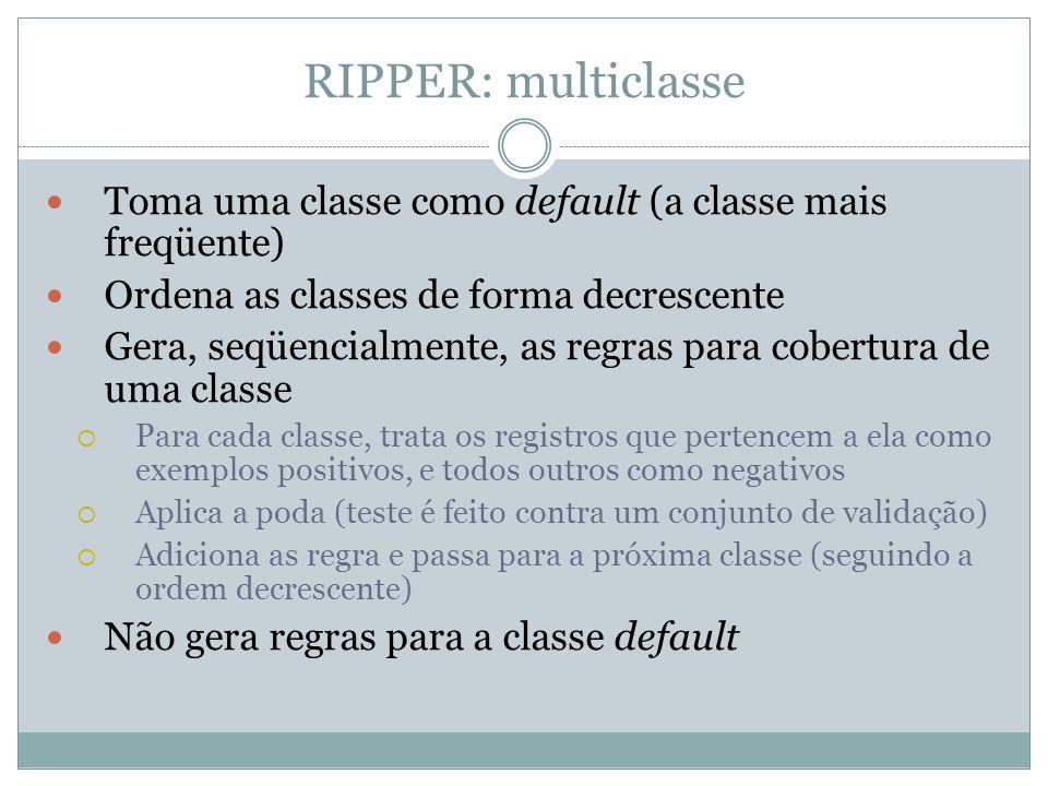 RIPPER: multiclasse Toma uma classe como default (a classe mais freqüente) Ordena as classes de forma decrescente Gera, seqüencialmente, as regras par
