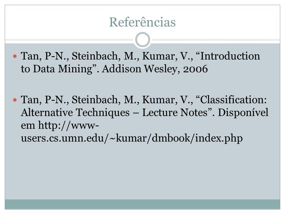 Referências Tan, P-N., Steinbach, M., Kumar, V., Introduction to Data Mining. Addison Wesley, 2006 Tan, P-N., Steinbach, M., Kumar, V., Classification