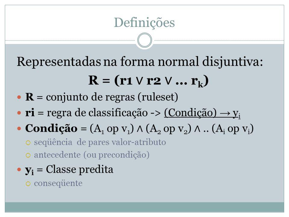 Definições Representadas na forma normal disjuntiva: R = (r1 r2... r k ) R = conjunto de regras (ruleset) ri = regra de classificação -> (Condição) y