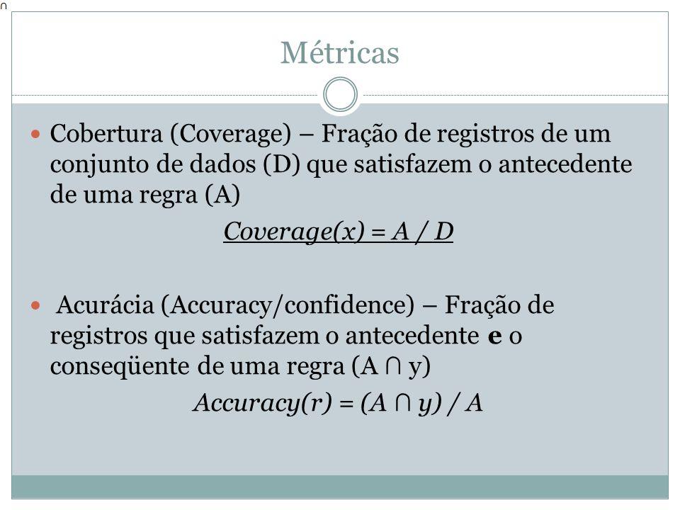 Métricas Cobertura (Coverage) – Fração de registros de um conjunto de dados (D) que satisfazem o antecedente de uma regra (A) Coverage(x) = A / D Acur