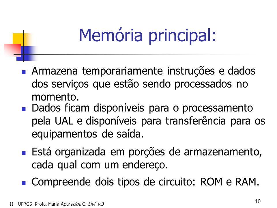 II - UFRGS- Profa. Maria Aparecida C. Livi v.3 10 Memória principal: Armazena temporariamente instruções e dados dos serviços que estão sendo processa
