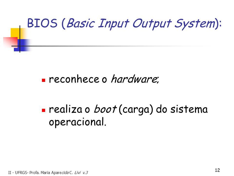 II - UFRGS- Profa. Maria Aparecida C. Livi v.3 12 BIOS (Basic Input Output System): reconhece o hardware; realiza o boot (carga) do sistema operaciona