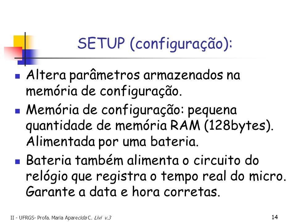 II - UFRGS- Profa. Maria Aparecida C. Livi v.3 14 SETUP (configuração): Altera parâmetros armazenados na memória de configuração. Memória de configura