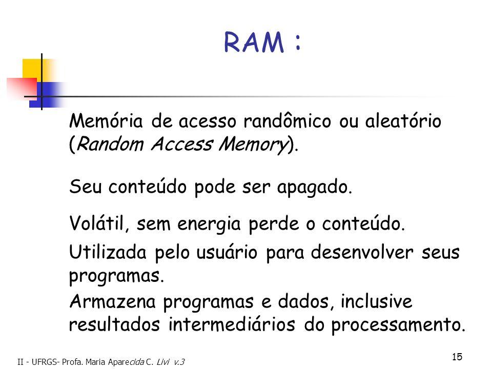 II - UFRGS- Profa. Maria Aparecida C. Livi v.3 15 Memória de acesso randômico ou aleatório (Random Access Memory). Seu conteúdo pode ser apagado. RAM