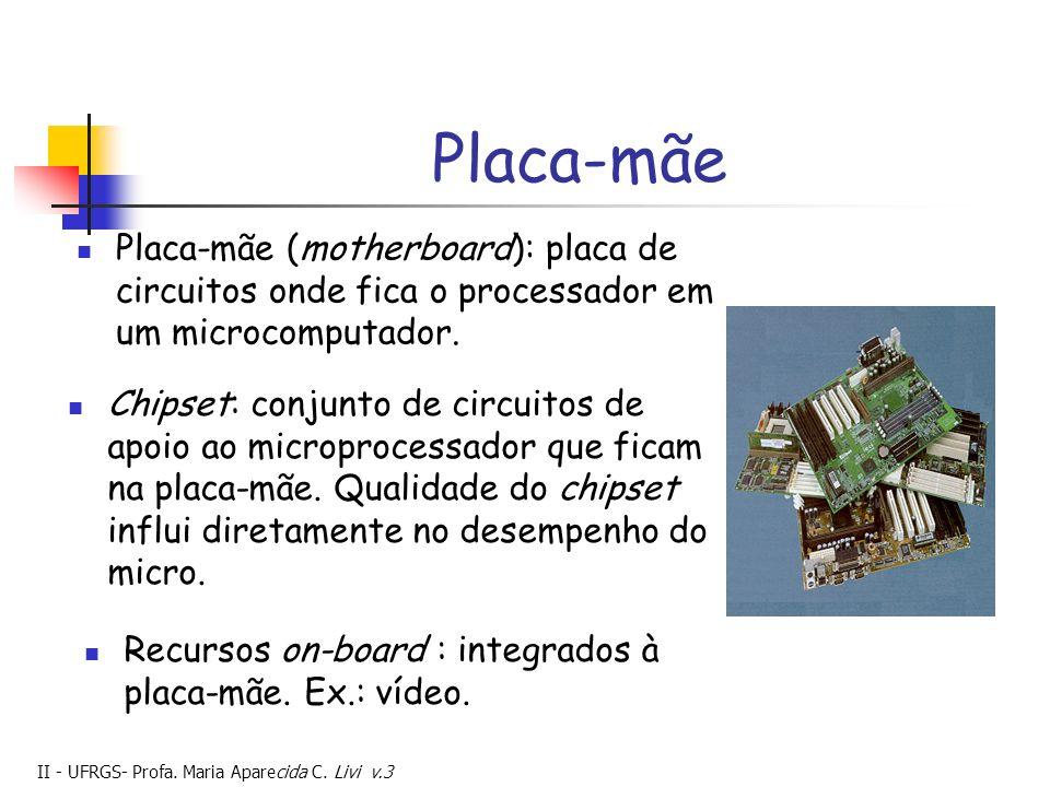 II - UFRGS- Profa. Maria Aparecida C. Livi v.3 Placa-mãe Placa-mãe (motherboard): placa de circuitos onde fica o processador em um microcomputador. Re