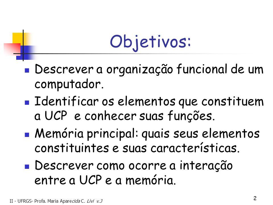 II - UFRGS- Profa. Maria Aparecida C. Livi v.3 2 Objetivos: Descrever a organização funcional de um computador. Identificar os elementos que constitue