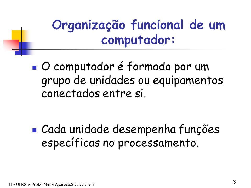 II - UFRGS- Profa. Maria Aparecida C. Livi v.3 3 Organização funcional de um computador: O computador é formado por um grupo de unidades ou equipament