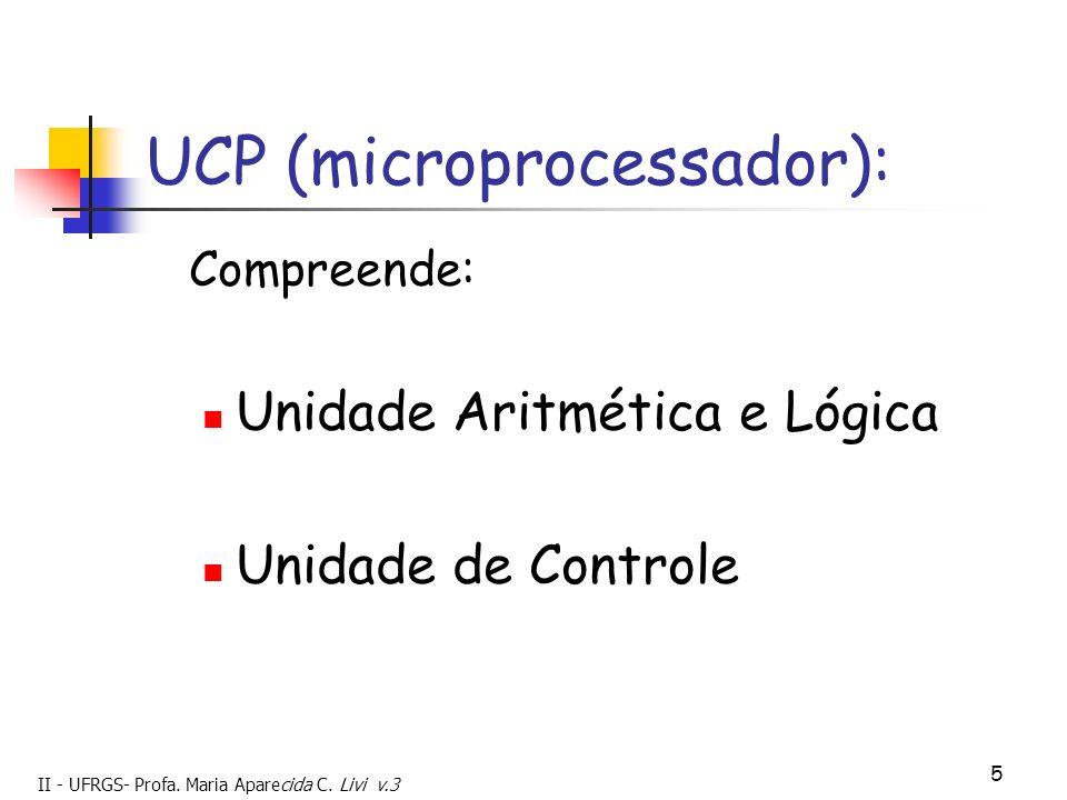 II - UFRGS- Profa. Maria Aparecida C. Livi v.3 5 UCP (microprocessador): Compreende: Unidade Aritmética e Lógica Unidade de Controle