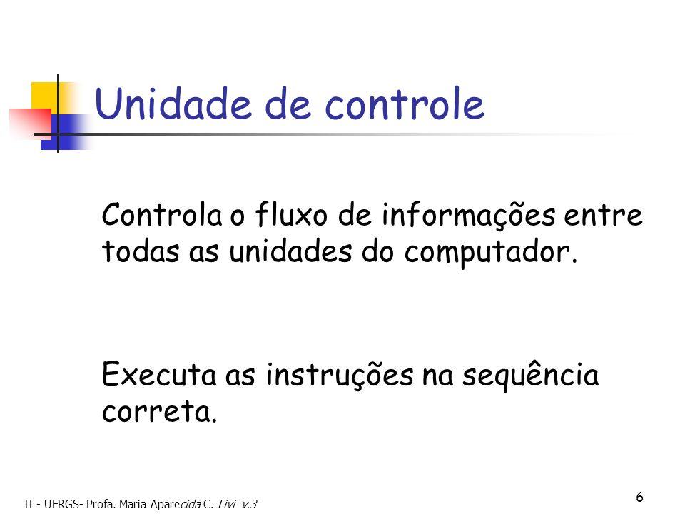 II - UFRGS- Profa. Maria Aparecida C. Livi v.3 6 Unidade de controle Controla o fluxo de informações entre todas as unidades do computador. Executa as
