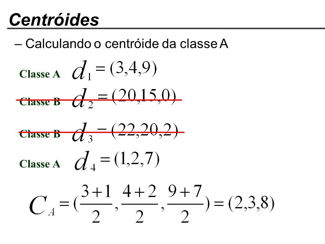 Classe A Classe B Classe A – Calculando o centróide da classe A