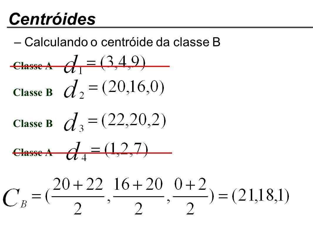 Classe A Classe B Classe A Centróides – Calculando o centróide da classe B
