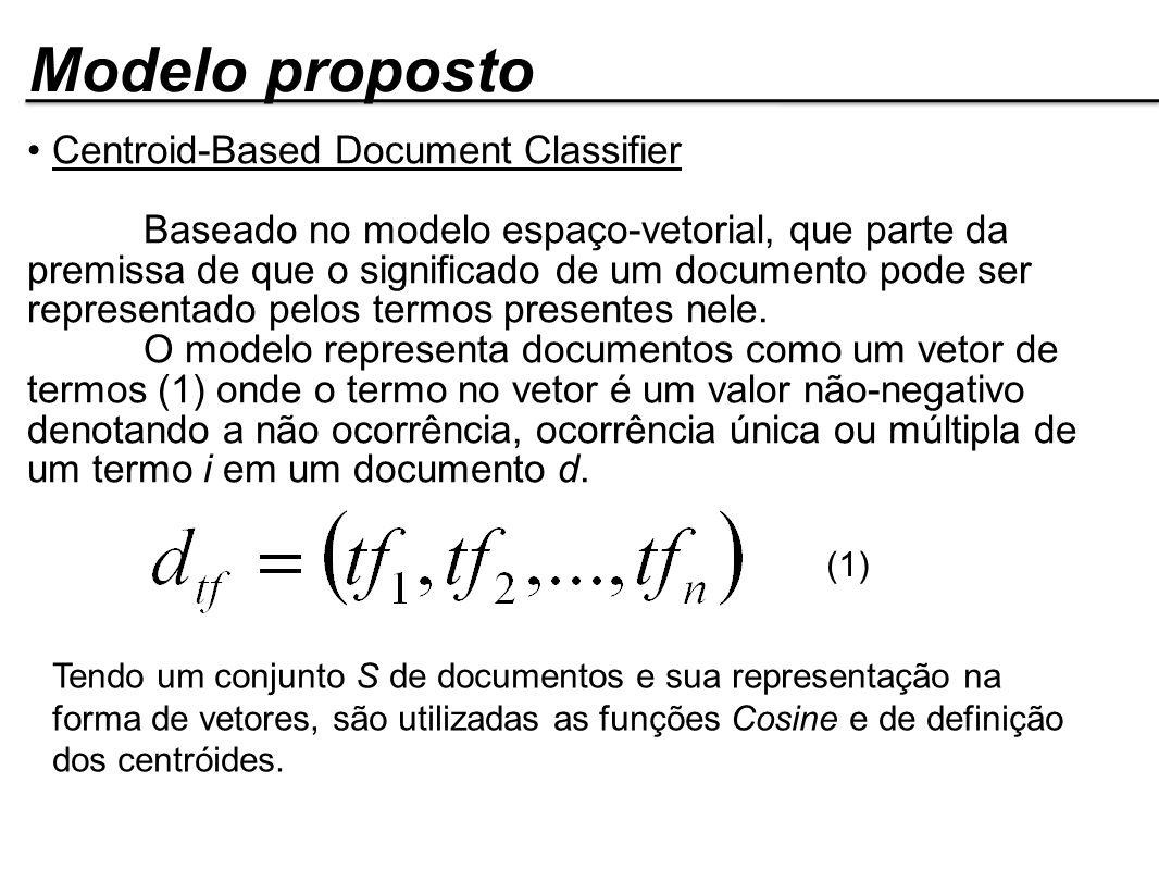 Modelo proposto Centroid-Based Document Classifier Baseado no modelo espaço-vetorial, que parte da premissa de que o significado de um documento pode