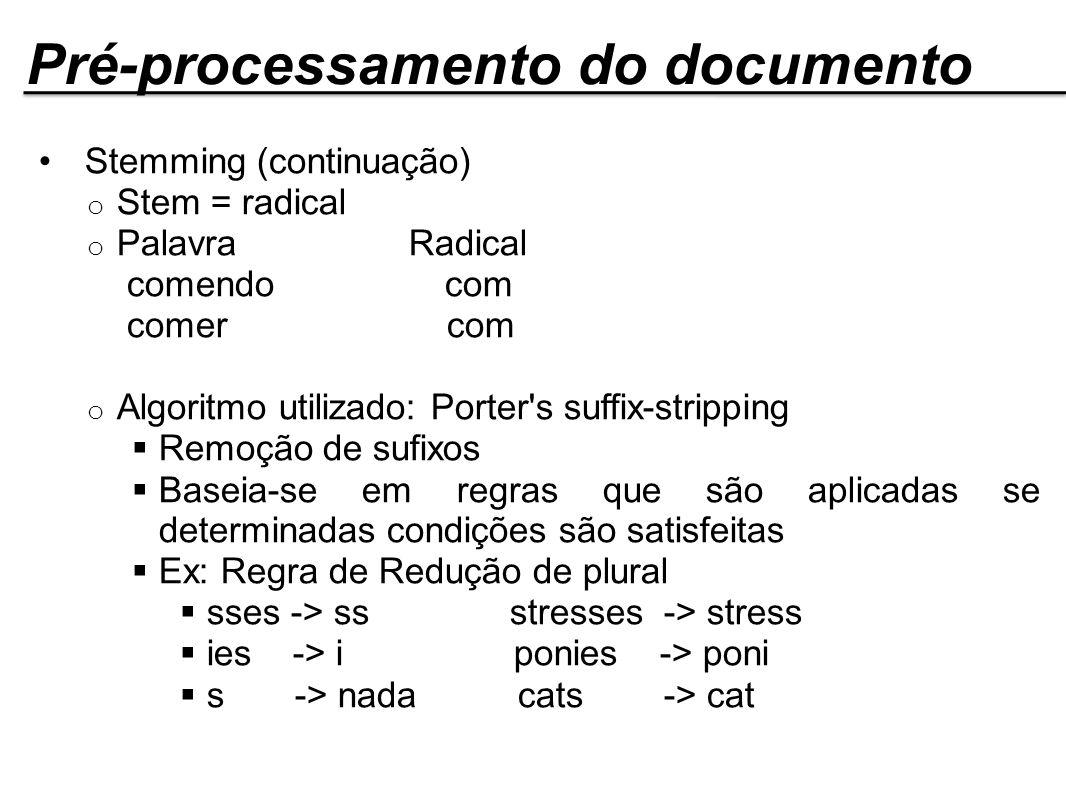 Pré-processamento do documento Stemming (continuação) o Stem = radical o Palavra Radical comendo com comer com o Algoritmo utilizado: Porter's suffix-