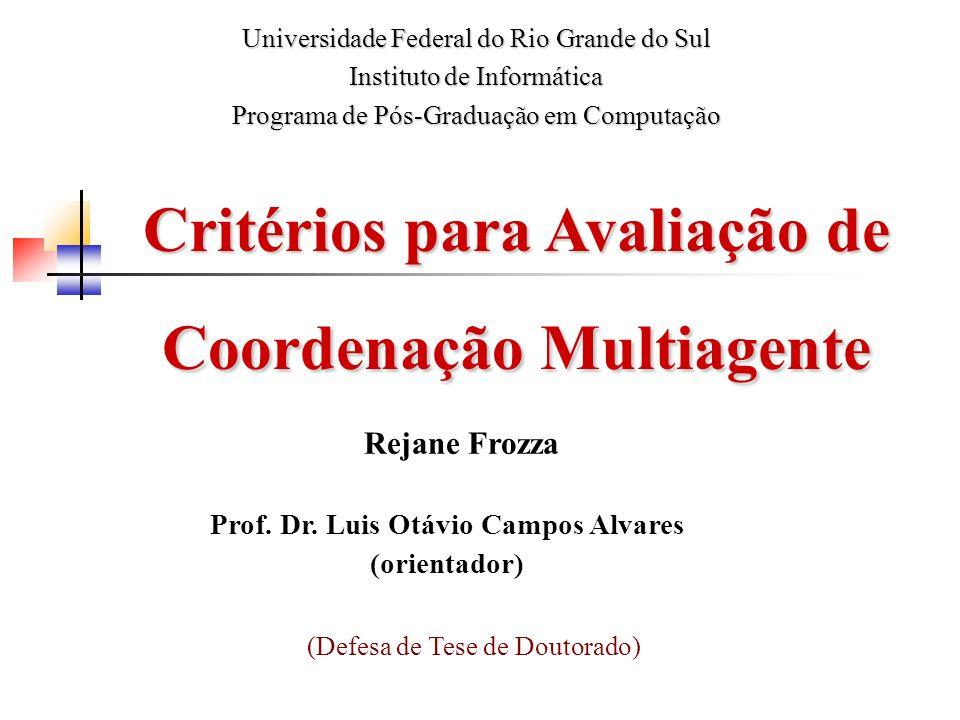 Critérios para Avaliação de Coordenação Multiagente Rejane Frozza Prof. Dr. Luis Otávio Campos Alvares (orientador) Universidade Federal do Rio Grande