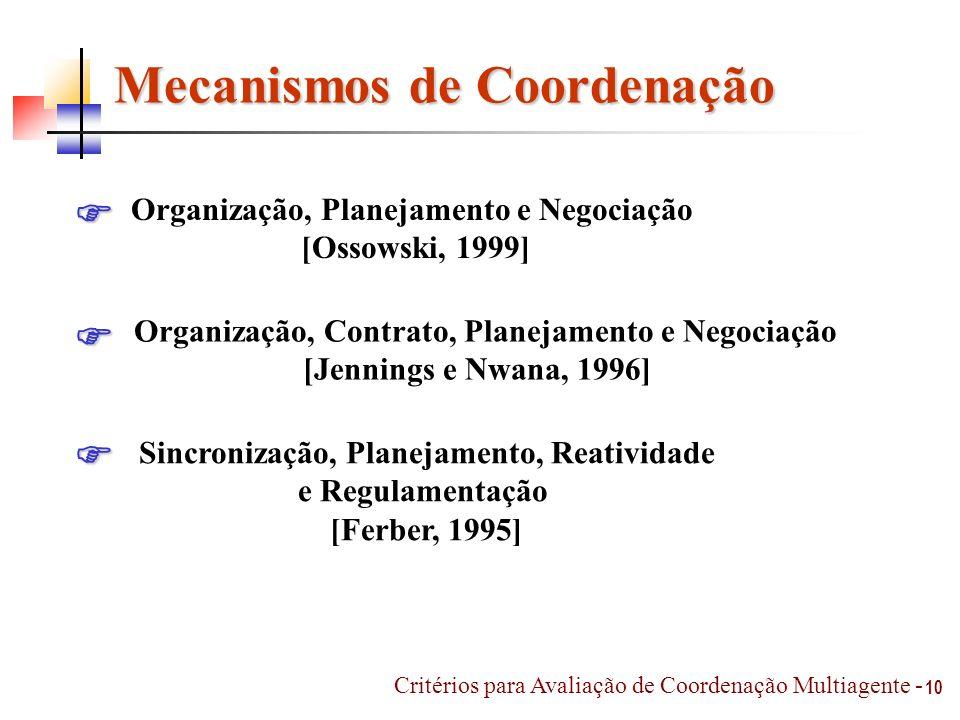10 Mecanismos de Coordenação Organização, Planejamento e Negociação [Ossowski, 1999] Organização, Contrato, Planejamento e Negociação [Jennings e Nwan