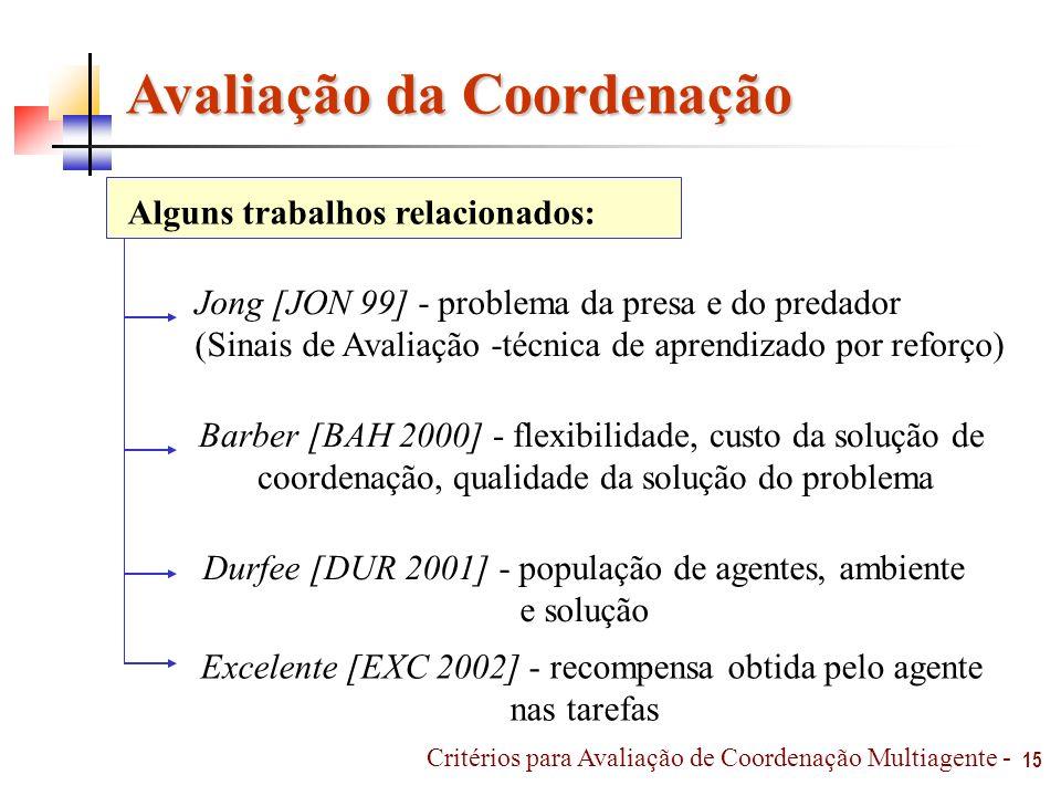 15 Avaliação da Coordenação Jong [JON 99] - problema da presa e do predador (Sinais de Avaliação -técnica de aprendizado por reforço) Barber [BAH 2000