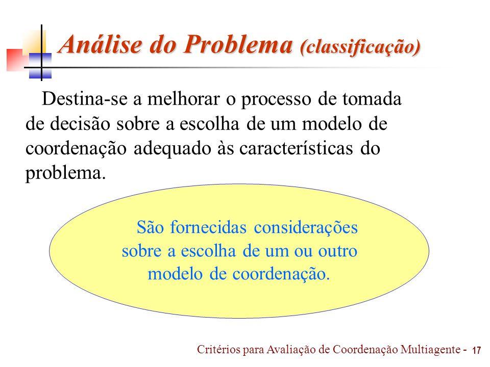 Análise do Problema (classificação) Destina-se a melhorar o processo de tomada de decisão sobre a escolha de um modelo de coordenação adequado às cara