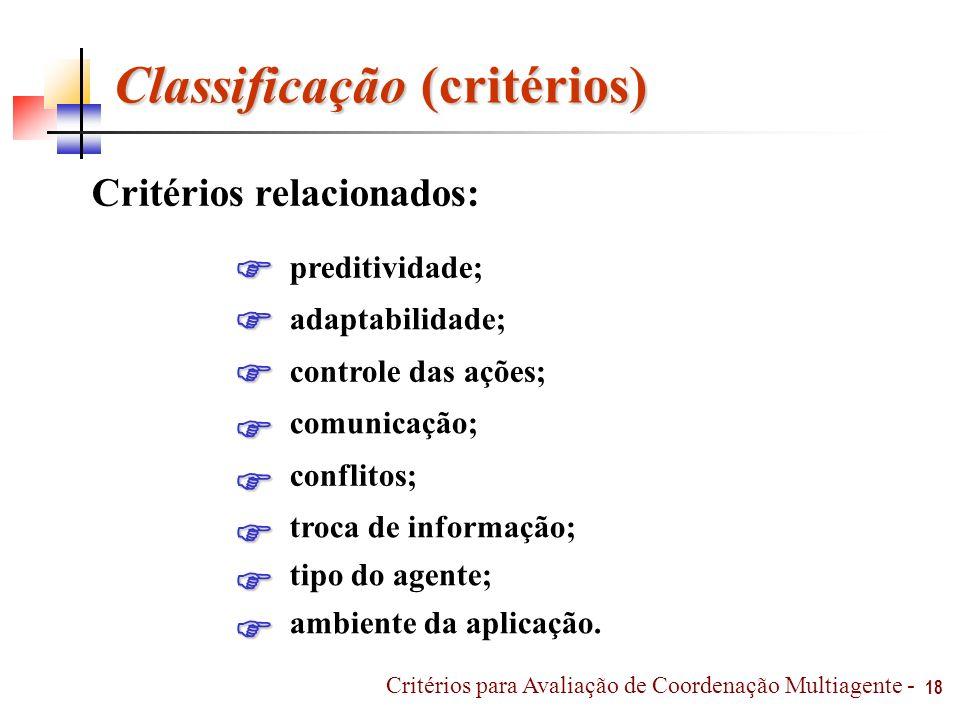 Classificação (critérios) Critérios relacionados: preditividade; adaptabilidade; controle das ações; comunicação; conflitos; troca de informação; tipo