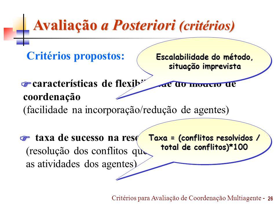 Critérios propostos: características de flexibilidade do modelo de coordenação (facilidade na incorporação/redução de agentes) taxa de sucesso na reso