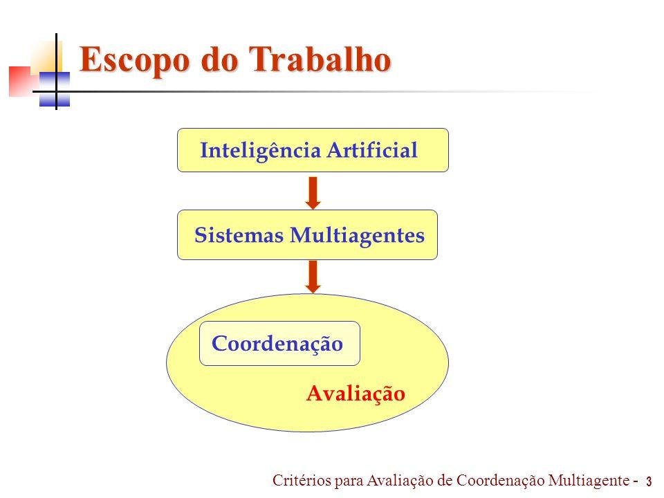 14 Avaliação Avaliação Qualitativa Avaliação Quantitativa Avaliação Critérios tomada de decisão grau de importância Critérios para Avaliação de Coordenação Multiagente -