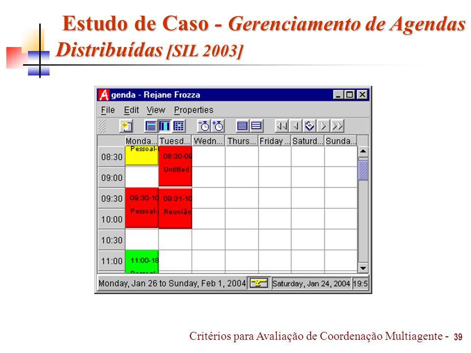 39 Critérios para Avaliação de Coordenação Multiagente - Estudo de Caso - Gerenciamento de Agendas Distribuídas [SIL 2003] Estudo de Caso - Gerenciame