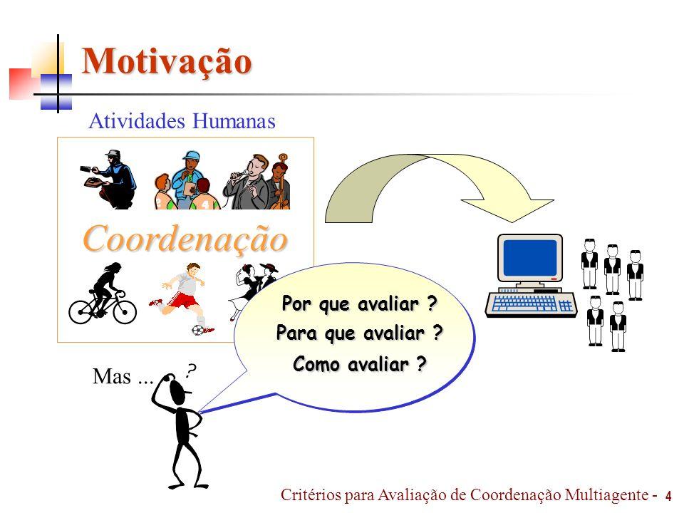 Motivação 4 Coordenação Atividades Humanas Mas... Por que avaliar ? Para que avaliar ? Como avaliar ? Critérios para Avaliação de Coordenação Multiage