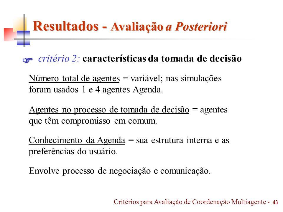 43 Critérios para Avaliação de Coordenação Multiagente - Resultados - Avaliação a Posteriori Resultados - Avaliação a Posteriori critério 2: caracterí