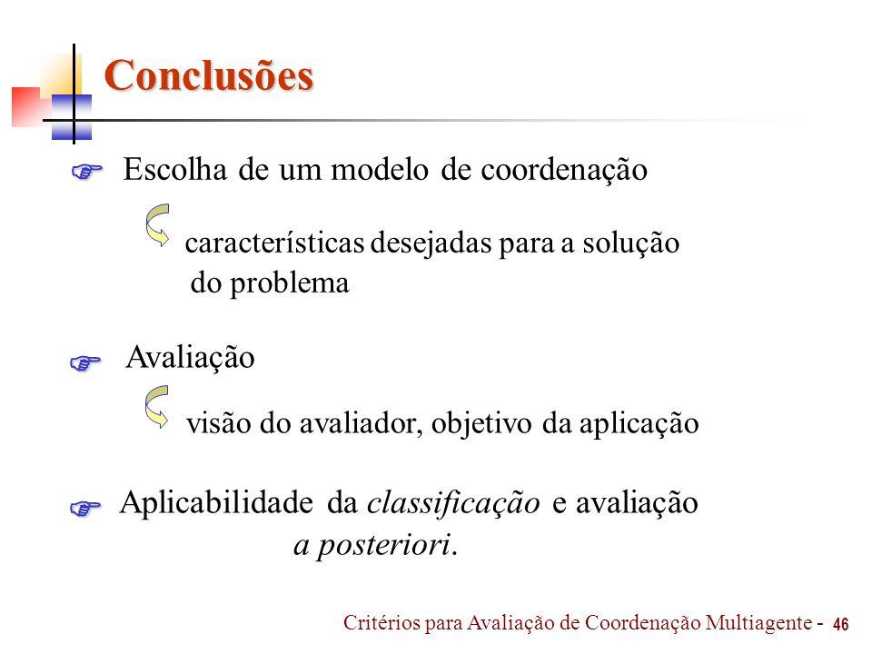 Conclusões 46 Avaliação Aplicabilidade da classificação e avaliação a posteriori. Escolha de um modelo de coordenação características desejadas para a