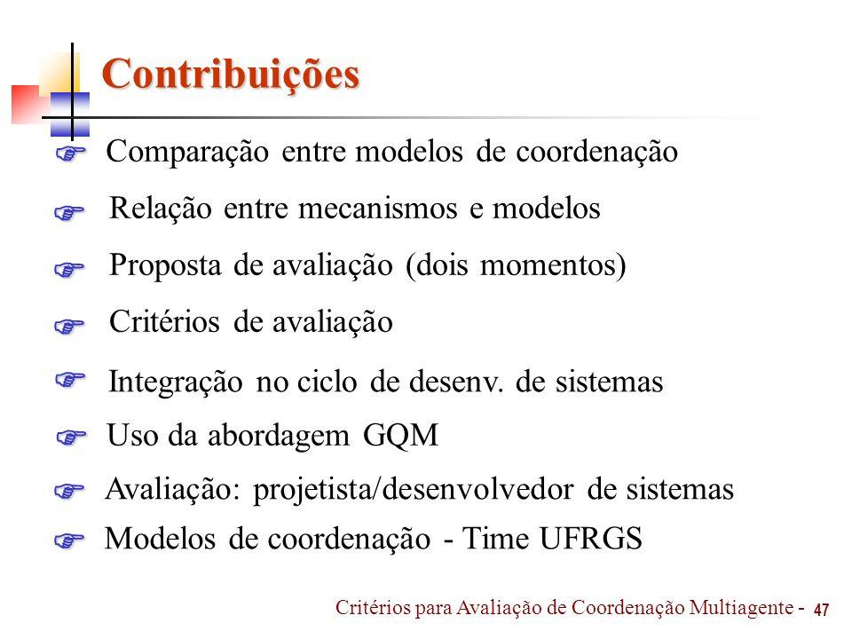Contribuições 47 Critérios para Avaliação de Coordenação Multiagente - Proposta de avaliação (dois momentos) Uso da abordagem GQM Comparação entre mod
